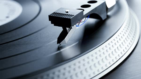 Close-up footage showing record player needle on spinning vinyl. Royalty-free stock video