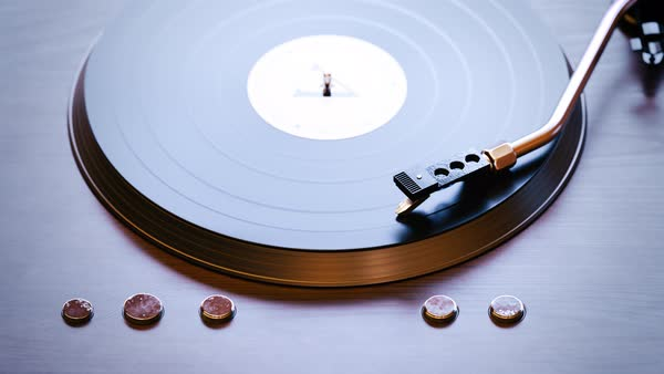 Loopable shot of record player with spinning vinyl. Royalty-free stock video
