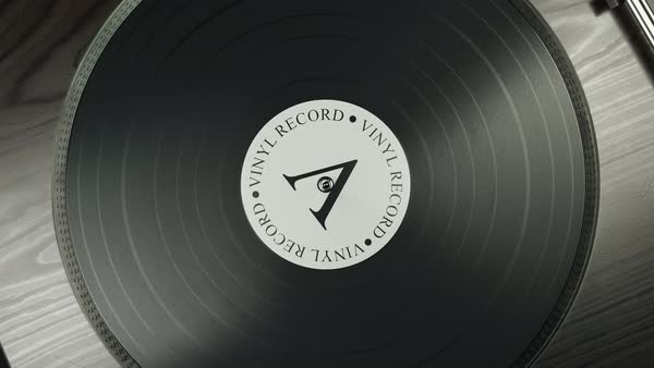 Camera zoom out from starting up record player Royalty-free stock video