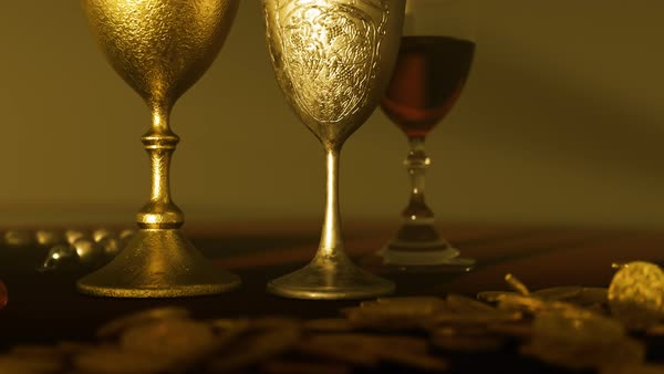 Camera zoom out from wooden table with goblets and jewels. Royalty-free stock video