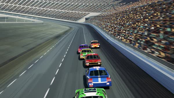 Animation of speeding race cars on curved racetrack. Rear view. Royalty-free stock video