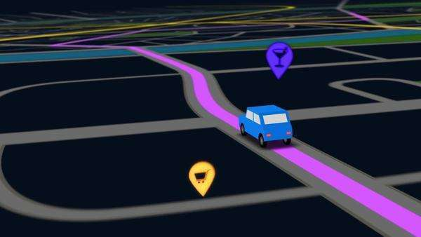 Color animation of blue car as it follows a route generated by GPS along city streets. Night view. Royalty-free stock video