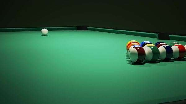 Billiard balls on the green baize of a billiard table. Breaking the rack in pool. Strong shot of cue ball. Royalty-free stock video