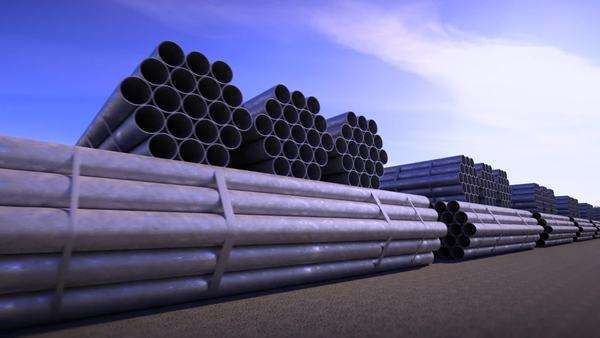 Seamless background animation of stacked steel pipes, tubes used in the construction industry. Royalty-free stock video