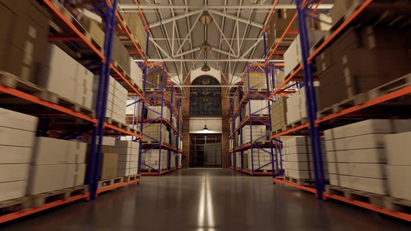 Camera tracking back between the shelves in the warehouse Royalty-free stock video