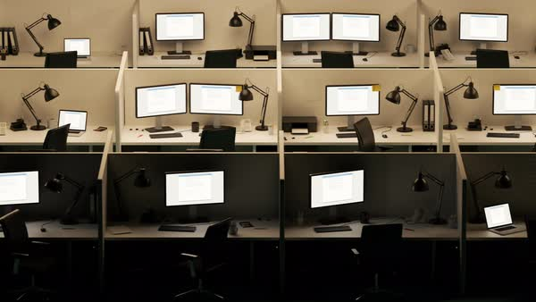 Office cubicles with error screen showing on the computer monitors Royalty-free stock video