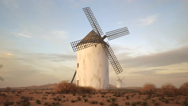Low angle camera shot showing a Spanish windmill Royalty-free stock video
