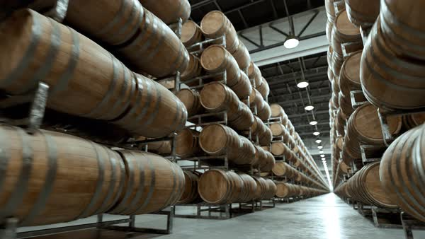 Wine barrels stacked in rows at the warehouse Royalty-free stock video