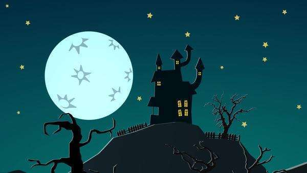 Spooky Halloween Haunted House On the hill with moon Ghosts mystery mansion Royalty-free stock video