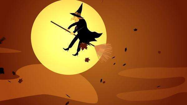 Halloween Witch Flying On A Broomstick Against A Full Moon At Night Royalty-free stock video