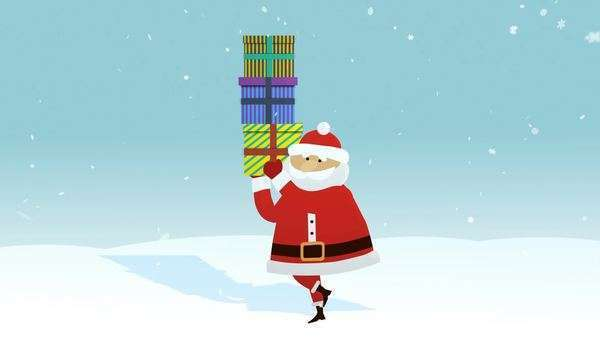 Santa Claus Walking On The Winter Landscape Carrying Gift Boxes Royalty-free stock video