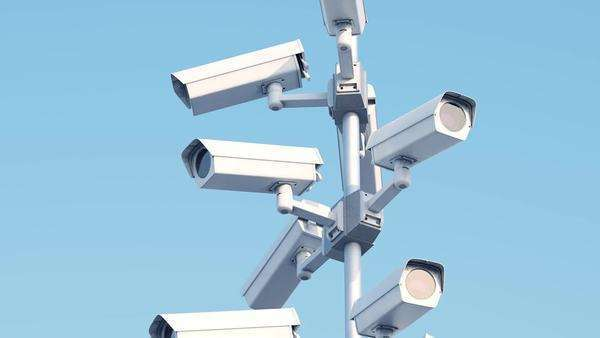 Security Cameras In Front Of Barbed Wire Royalty-free stock video
