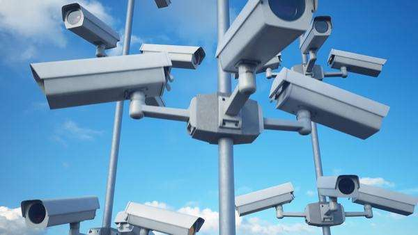 Security Cameras. Seamless animation. Royalty-free stock video