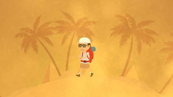Tourist With Backpack Walking In Sandstorm Royalty-free stock video