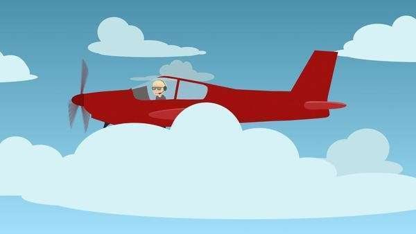 Illustration Of Man Travelling In Red Aircraft Royalty-free stock video