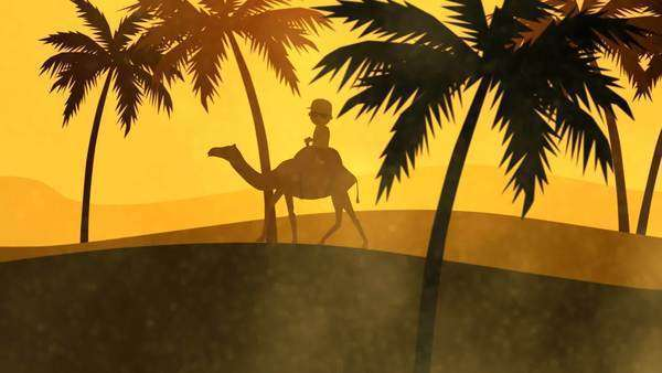 Silhouette Of A Tourist Travelling On Camel In Sandstorm Royalty-free stock video