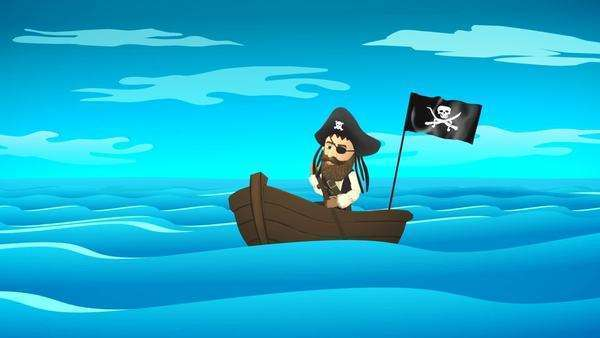 Pirate On Boat In Calm Ocean Royalty-free stock video
