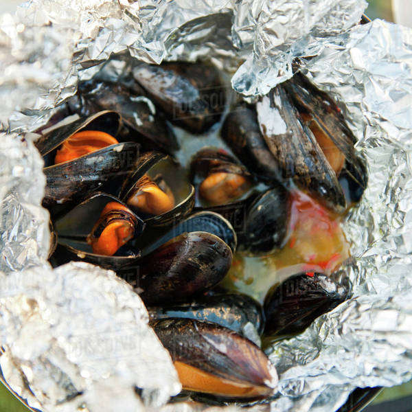 Group of mussels in foil paper Royalty-free stock photo