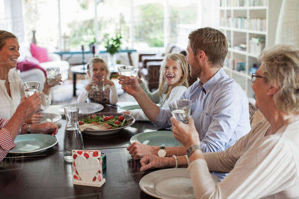 Multi-generation family having lunch together Royalty-free stock photo