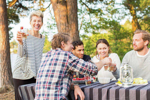 Portrait of happy woman holding beer glass while standing by friends having lunch at picnic table Royalty-free stock photo