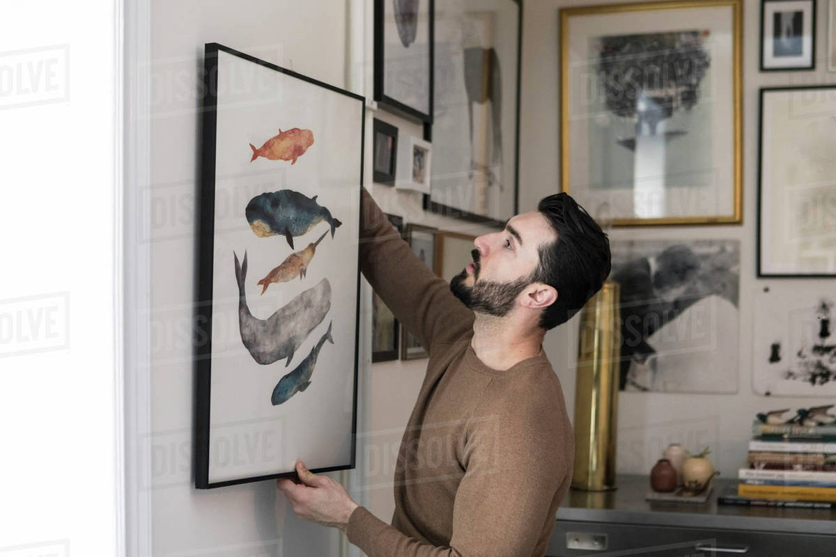 Young man hanging painting on wall at home stock photo