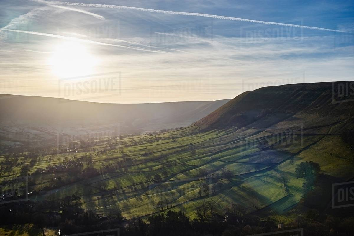 View of valley at sunrise, Hope Valley, Peak District, UK Royalty-free stock photo