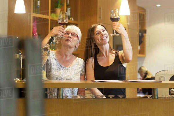 Women at counter in wine bar checking clarity of wine Royalty-free stock photo