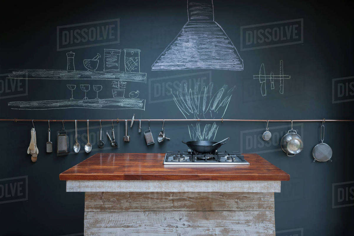 Kitchen With Chalkboard Wall Background Stock Photo