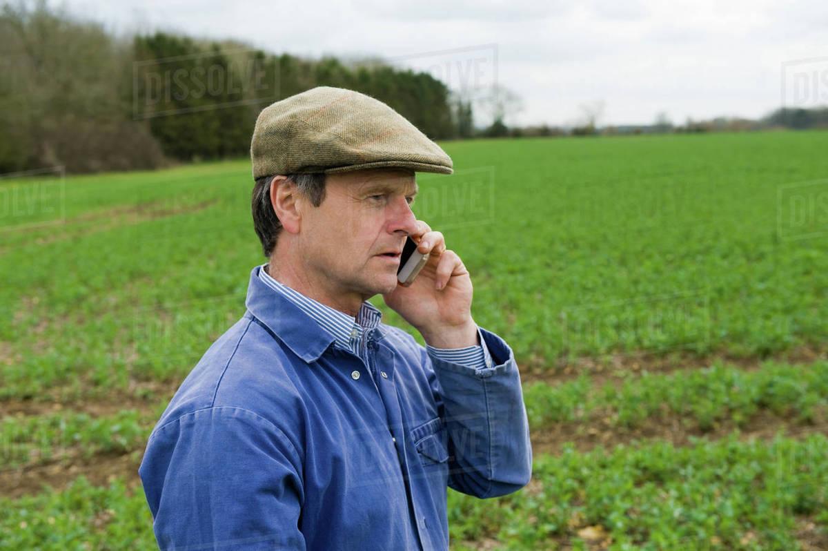 94dd3ae37002 Farmer wearing flat cap talking in field on smartphone - Stock Photo ...