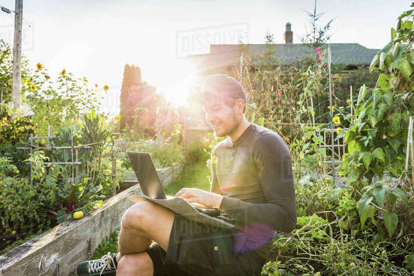 Man typing on laptop in sunlit community garden, Vancouver, Canada Royalty-free stock photo