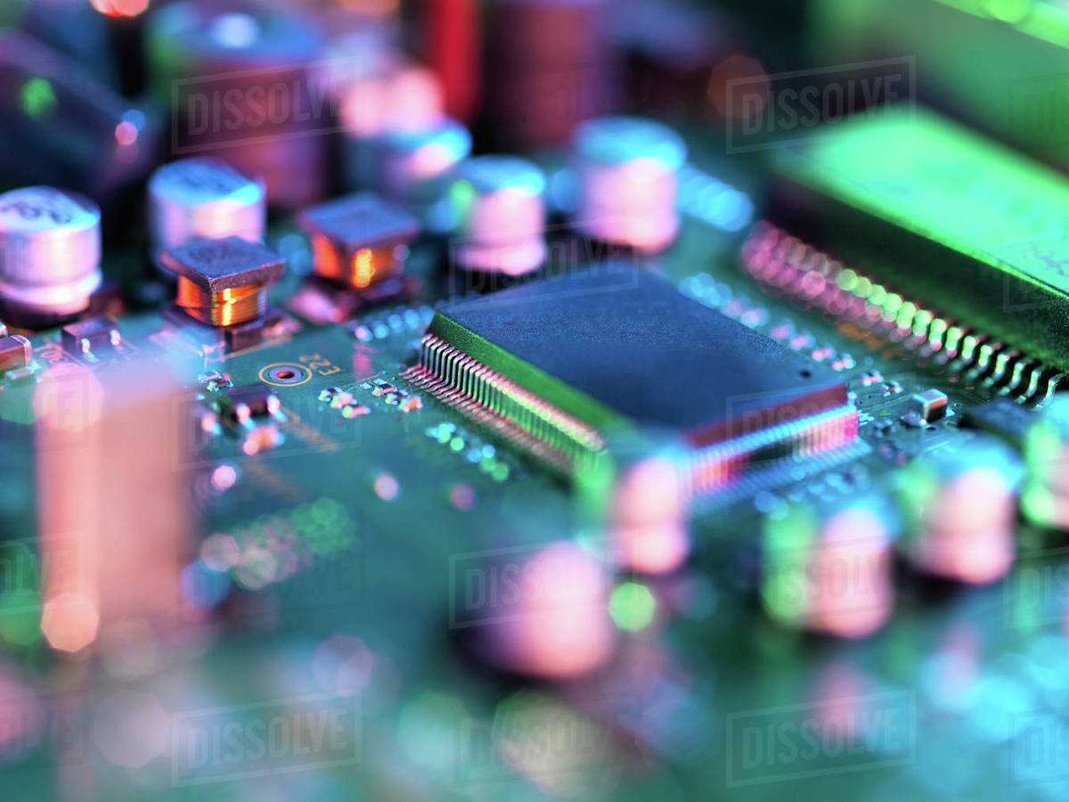Close Up Of Hi Tech Electronic Circuit Board Stock Photo Dissolve Printed Royalty Free Photography