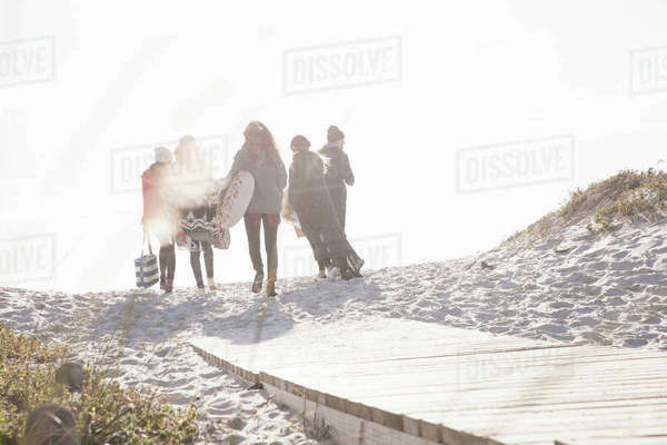 Rear view of young adult friends strolling on sunlit boardwalk at beach, Western Cape, South Africa Royalty-free stock photo