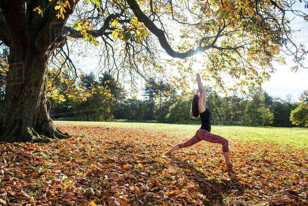 Woman doing yoga in park on autumn day Royalty-free stock photo