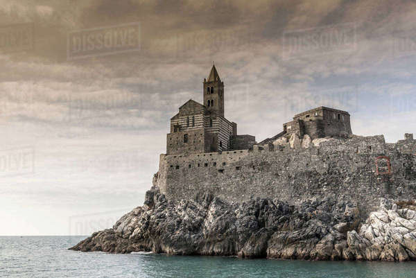 View of Church of St Peter on headland rocks, Porto Venere, Liguria, Italy Royalty-free stock photo