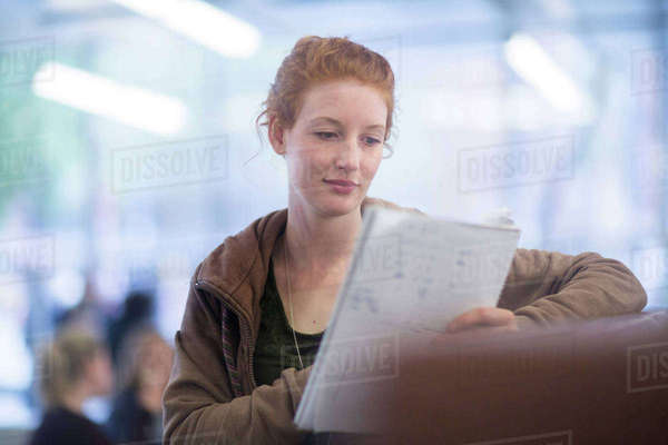 Student reading in library Royalty-free stock photo