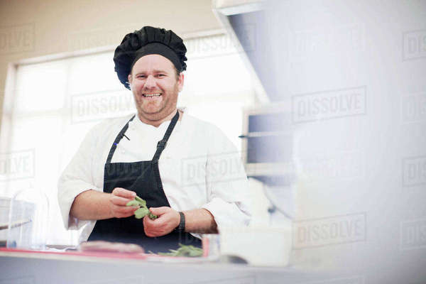 Smiling chef at work in kitchen Royalty-free stock photo