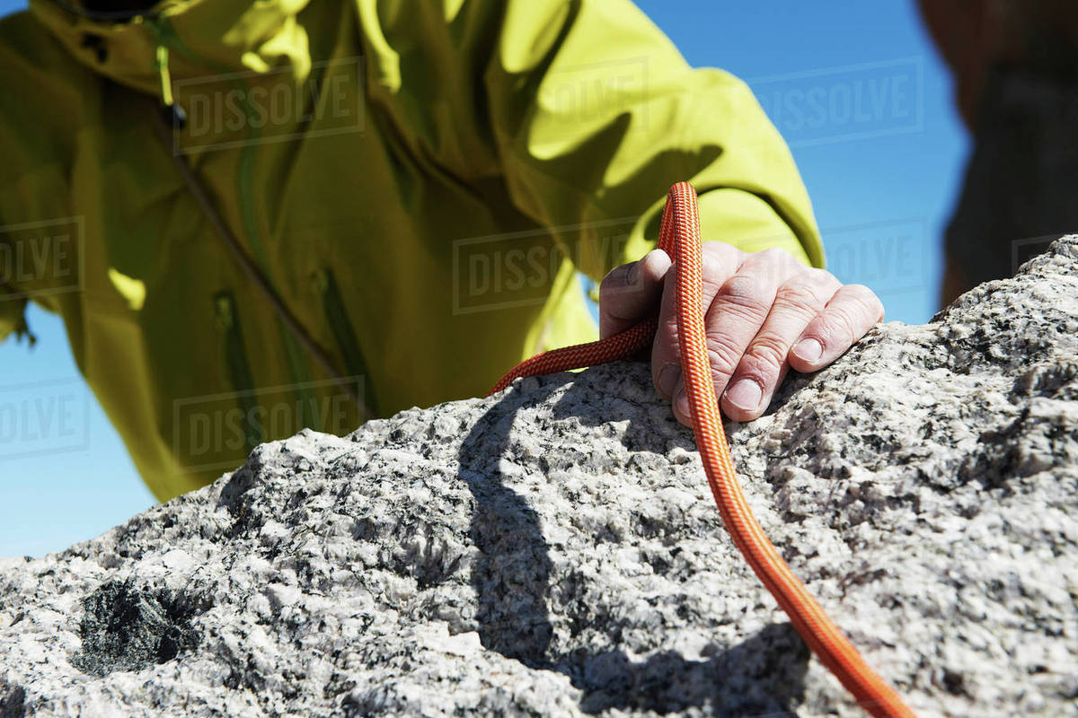 Mountaineer holding rope, close up Royalty-free stock photo