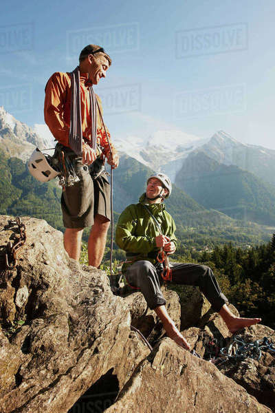 Two rock climbers resting, Chamonix, Haute Savoie, France Royalty-free stock photo