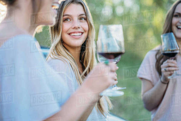 Friends drinking wine smiling, Firenze, Toscana, Italy, Europe Royalty-free stock photo