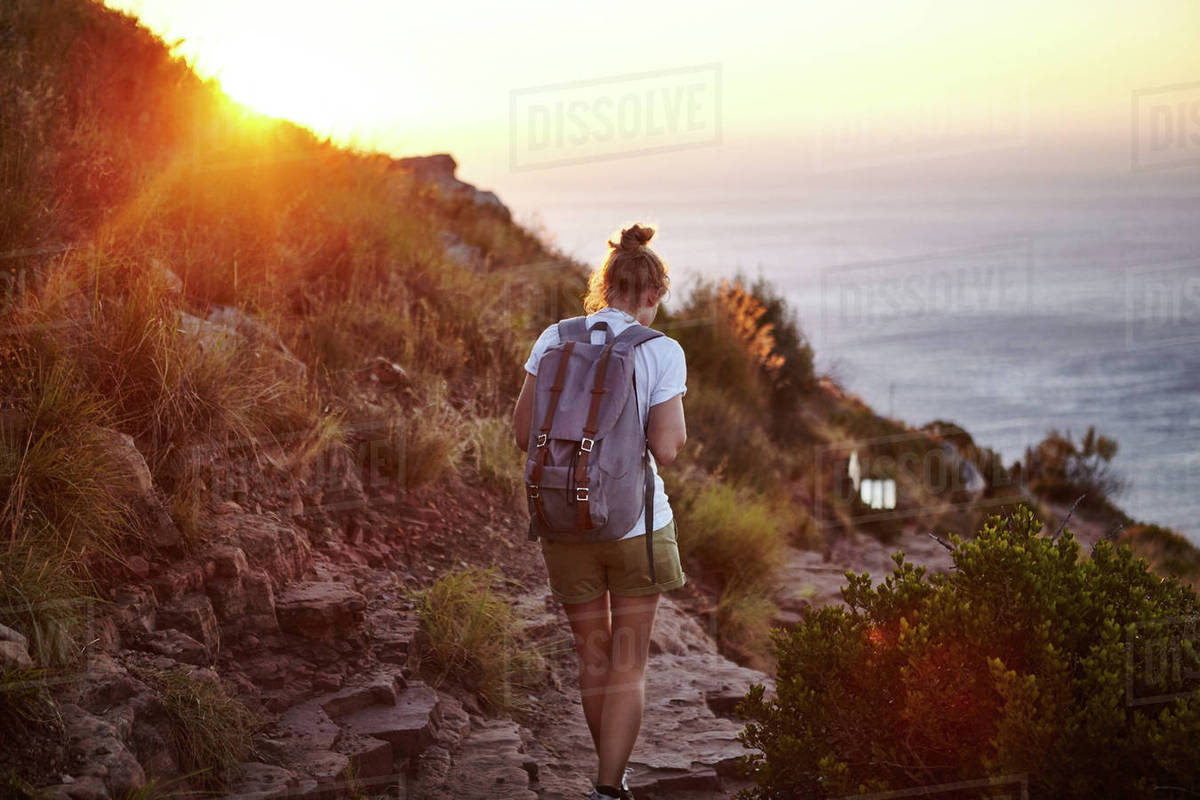 Young Woman Hiking Rear View Lions Head Mountain Western Cape Town South Africa