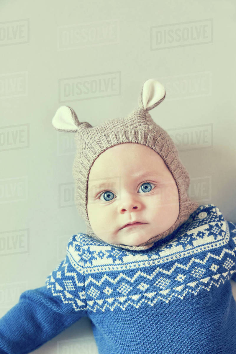 bf783055358d ... uk portrait of blue eyed baby boy in knitted hat with ears 5162c d9fee