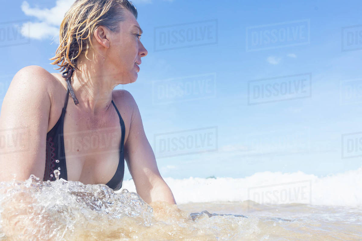 Woman In Sea Looking Away Low Angle View Nacpan Beach D943 245 561