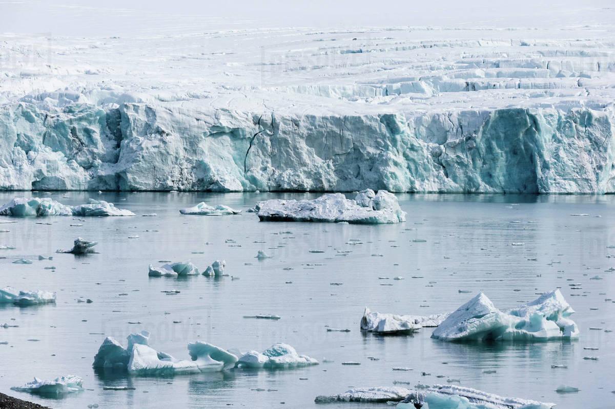 Coastal Landscape With Sea Ice Isbjornhamna Hornsund Bay Spitsbergen Svalbard Norway Stock Photo Dissolve