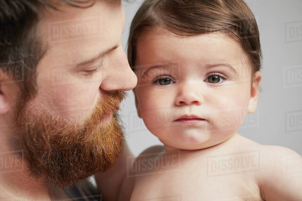 Portrait of father with baby girl Royalty-free stock photo
