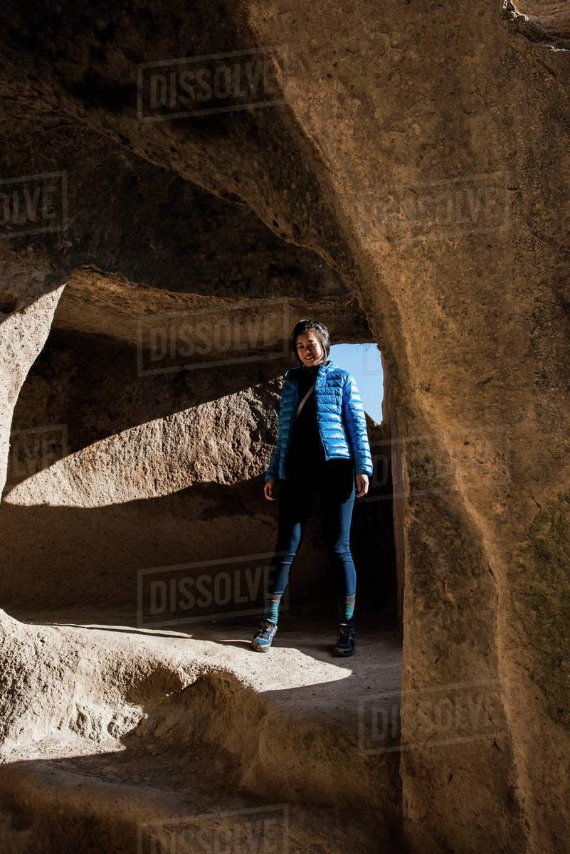 Woman exploring Selime Monastery, Göreme, Cappadocia, Nevsehir, Turkey  Royalty-free stock photo