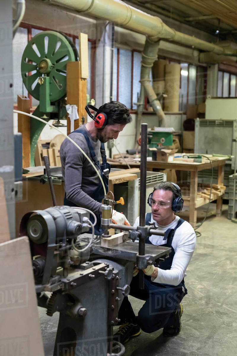 Carpenters working in factory Royalty-free stock photo