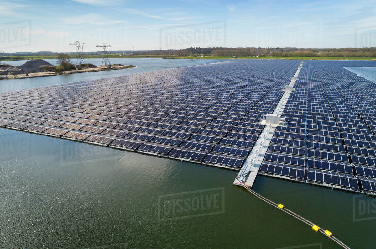 Aerial view of solar panels set on a lake in the countryside. Royalty-free stock photo