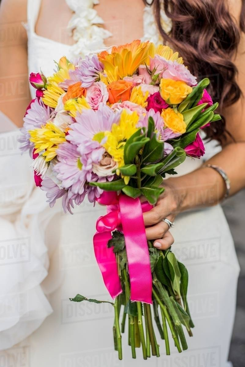 Cropped View Of Bride And Colorful Bouquet At Hawaiian Wedding