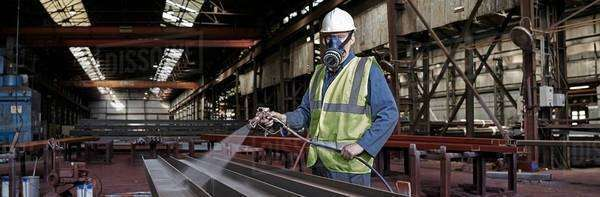 Portrait of a steelworker in his working environment Royalty-free stock photo