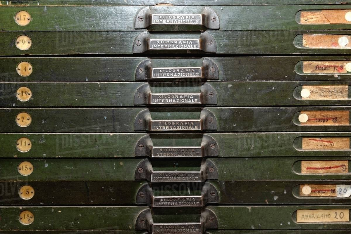 Close up of letterpress drawers in traditional bookbinding workshop stock  photo